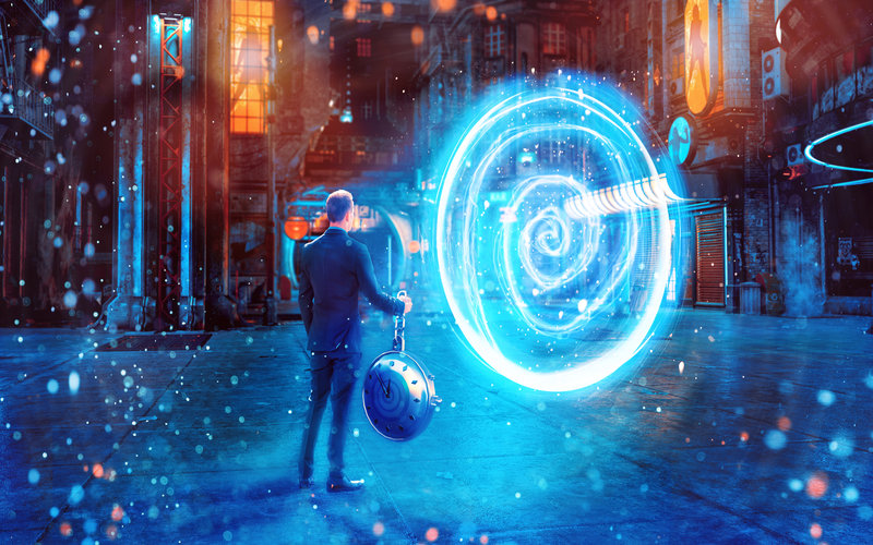Guy standing in front of a time portal